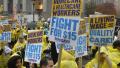 美快餐店工人罢工 要求提高最低工资