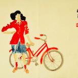 扶车的红衣女孩