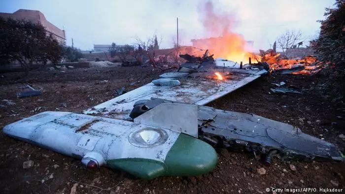 ▲俄罗斯苏-25战机在叙利亚西北部被击落。