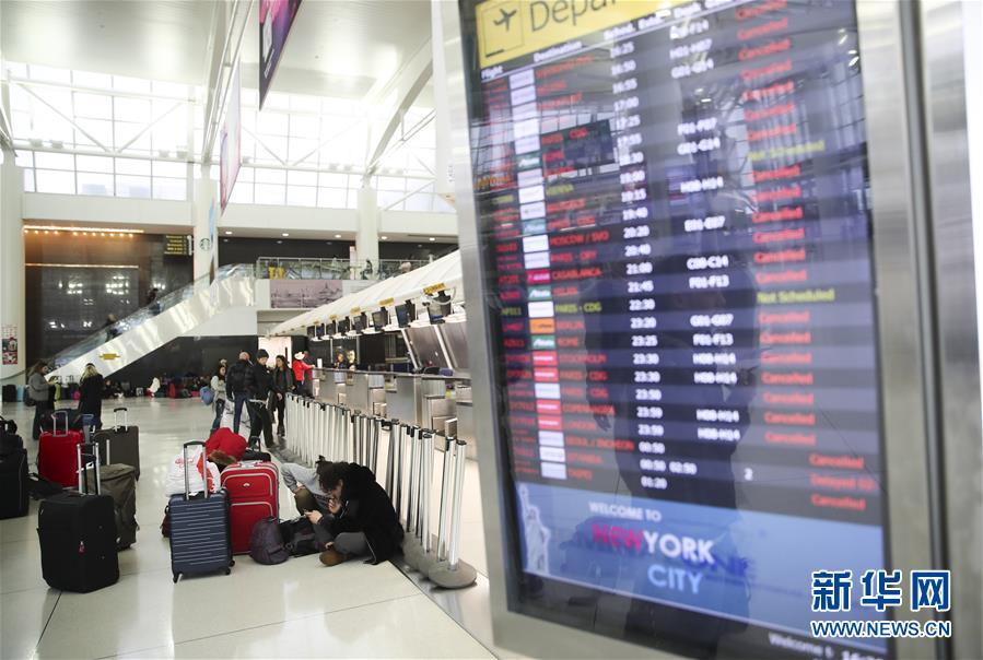暴风雪致纽约航班大面积取消 全市公立学校停课