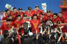 上海男排主场力克北京 问鼎联赛第14冠