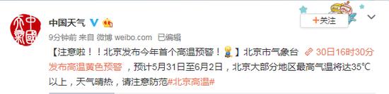 急速赛车彩票平台:北京发布今年首个高温预警!5月31日至6月2日超35℃