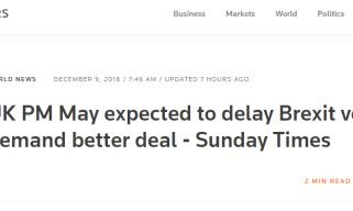 英国脱欧协议表决将推迟 梅姨前往欧盟要更好条款