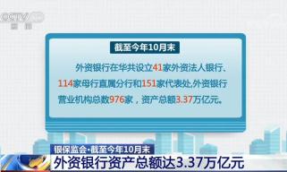 银保监会:10月末外资银行资产总额达3.37万亿元