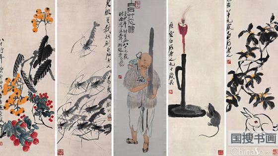 齐白石惟一自画像抱琴负书 从辽宁来到了浙江博物馆