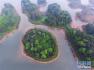 用无人机拍摄龙水湖景色 湖岛相映景色秀