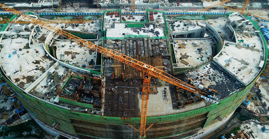 区域中心标志性建筑物之一郑州博物馆新馆主体结构开始封顶