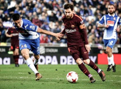 国王杯-梅西失点球保利尼奥伤退 巴萨0-1负