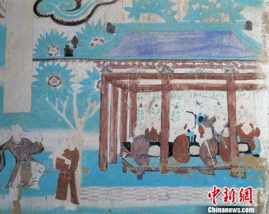 图为莫高窟第146窟中描绘的五代时期的露天酒肆。敦煌研究院供图