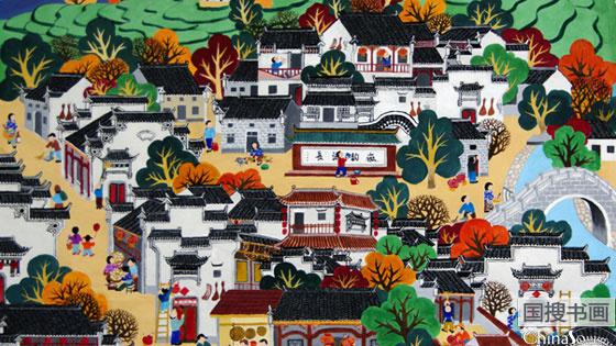 """""""中国精神·中国梦""""全国农民画创作展亮相中国美术馆"""