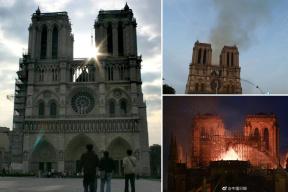 心疼!800年历史的巴黎圣母院失火前后对比