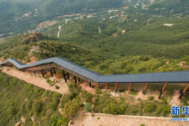 【航拍】观光电梯建在伏羲山上